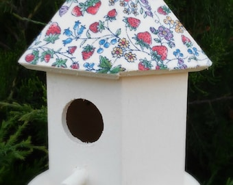 Fabric Covered Birdhouse - Garden Decor - Home Decor - READY TO SHIP!