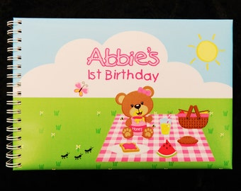 Teddy Bear's Picnic Child's 1st Birthday Keepsake Guest Book A5 size