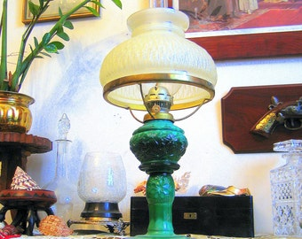 Art Deco Vintage Bohemian Czech Malachite Glass Schlevogt Kerosene Oil Lamp