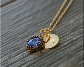 Gold Sapphire Birthstone Necklace, Initial Charm Necklace, Personalized Birthstone Necklace, September Birthstone Charm. Swarovski Sapphire