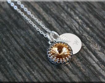 Silver Topaz November Birthstone Necklace, Initial Charm Necklace, Personalized Birthstone Necklace, November Birthstone Charm. Swarovski