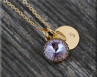 Gold Tanzanite June Birthstone Necklace, Initial Charm Necklace, Personalized Necklace, June Birthstone Charm. Swarovski Tanzanite charm