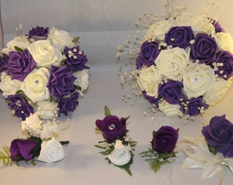 WEDDING BRIDALBOUQUET Flower Package ***Purple & White or ivory**** 22 pieces****