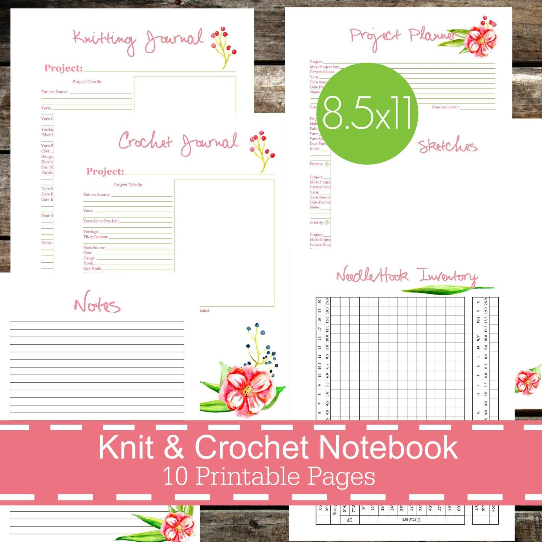 Knitting Journal Pdf : Knitting crochet planner notebook journal printables pdf