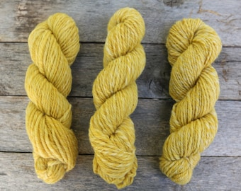 Hand-spun wool yarn naturally dyed with marigold