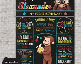 Curious George Birthday sign,Curious George,Monkey sign,JPG file,sign,Birthday sign,Monkey,Curious George,DPP81