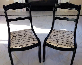 Pair of 2 black vintage dining chairs, shabby chic, French country,
