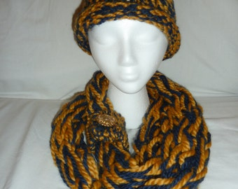 Arm Knit Infinity Scarf and Hat Combo