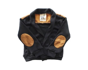 Black Cardigan with Elbow Patch / Baby Black Cardigan / Kid Black Cardigan / Back and Elbow Patch