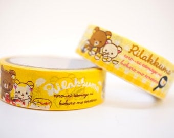 Kawaii RILAKKUMA Japanese BEAR cartoon washi tape stationery planner DIY