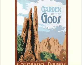 Garden of the Gods: Colorado Series, The Bungalow Craft by Julie Leidel, WPA-Style Poster Art, Arts & Crafts Movement