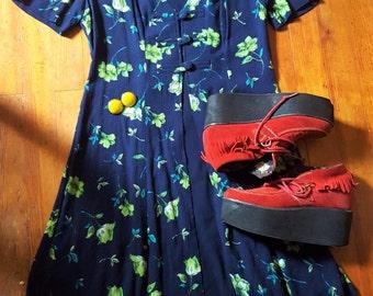 Vintage Blue & Green Floral Skater Short Dress