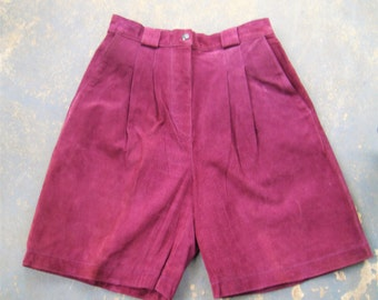 Vintage High Waist Purple Suede Leather Shorts W/ Pockets