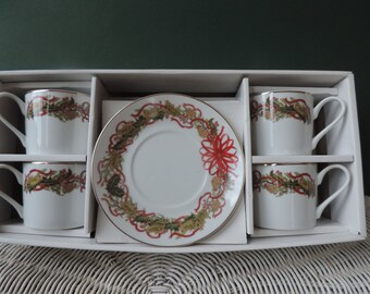 Andrea by Sadek Christmas Garland  Set of 4 cups and saucers 1994 Fine Porcelain China