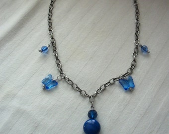 Handmade Blue & Silver Beaded Necklace With Butterfly Accent Beads