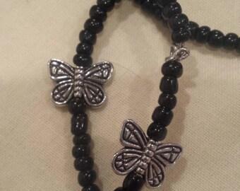 "Set of 3 black beaded butterfly bracelets. 10"""