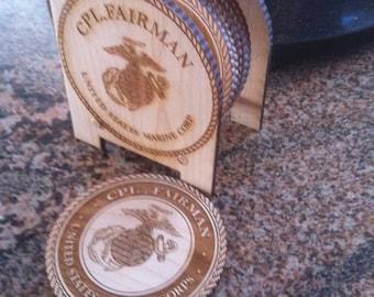 Wood Military Coasters
