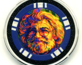 Jerry Garcia poker chip card guard - Grateful Dead poker card protector - paperweight