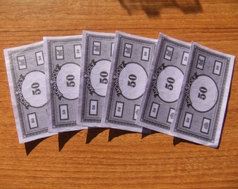 "Monopoly money, purple, 6 notes, ""50"""