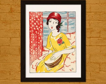Printed on textured bamboo Art paper - Japanese Art Print Girl in the Evening Yumeji Ukiyo-e Poster  Decor  Decor Asian Art Japanese Artists