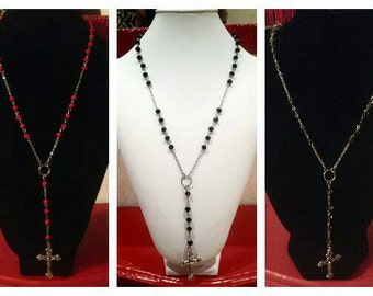 Rosary style necklace-available in 3 colors