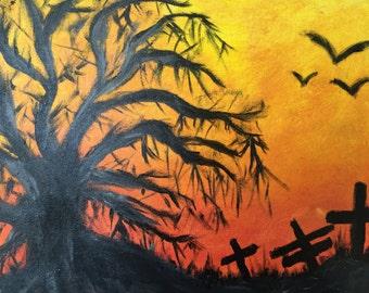 Graveyard Silhouette 13x10 Acrylic Painting