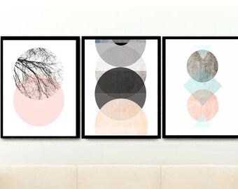 Geometric Wall Prints, Triptych, Set of 3 Prints, Minimalist Prints, Abstract Art Prints, Scandinavian Modern, Giclee prints, Wall Art