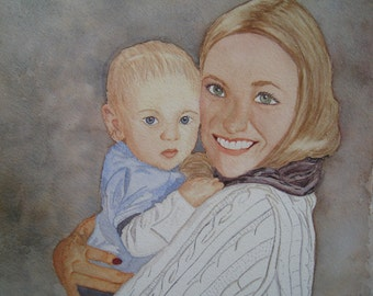 Customized Portrait in Watercolor 11x14