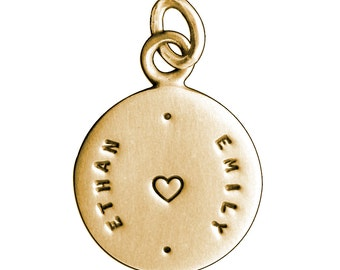 Personalized Gold Disc Vertical Names Charm