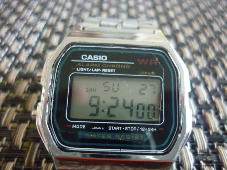 casio silver digital 1980s world by watchesvintage25