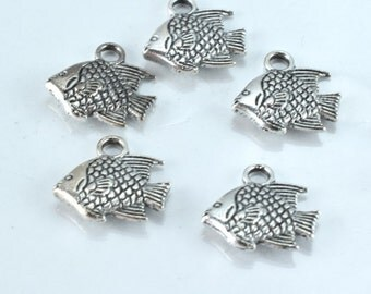 12x12mm Antique Silver Fish Pendant Charms , 18pcs/PK, 3mm thickness, 16.4grams/pk, 2mm hole opening