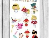 Mini Sticker sheet - Alice in Wonderland - planner stickers