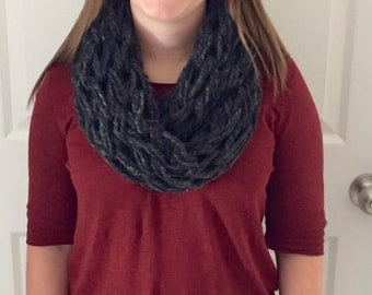 Arm Knitted Scarf- Gray (Granite)