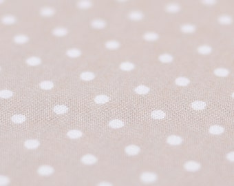 1yd x 44'' Beige Polka Dot Fabric / 100% Cotton / by the yard