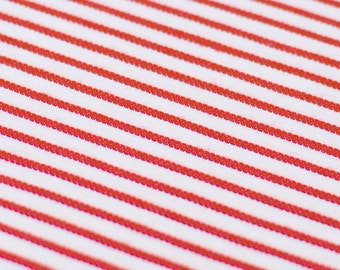 1yd x 60'' Red White Striped Medium Weight Stretch Fashion Fabric / 97/3% Cotton/EA / by the yard