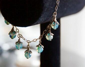 Sterling Silver Opal Swarovski Crystal bracelet
