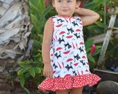 Infant Baby Girls Ruffle Dress (Red and Black cat pattern or Yellow floral print)