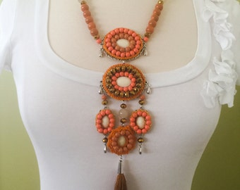 Handmade Chunky Statement Pendent Tassel Necklace.  Unique Coral & Orange Colors