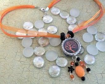 Halloween  bottle cap necklace  Beautiful