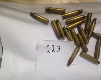 223 brass  Bullet Shell Casings (20) pieces Recycled, Bullets Jewelry