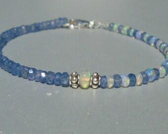 Sapphire Bracelet, Opal Bracelet, Ethiopian Opal, Blue Sapphire, Dainty Beaded Bracelet, Skinny Beaded Bracelet, Anklet, Sapphire Anklet