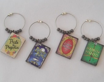 Classic Books / Set 3 Wine Charms  - Pride & Prejudice, Little Women, Peter Pan and Robin Hood