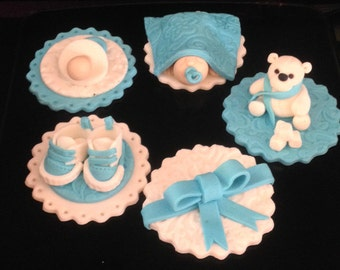 Gluten free Edible fondant Cupcake toppers pink blue green yellow Baby Dummy Booties 4 only