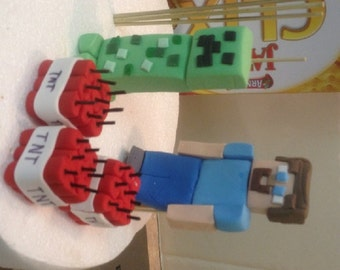 Gluten and Nut Free Edible fondant Minecraft TNT Creeper and Steve Cake Topper Set