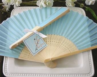 25 Blue Silk Fans - 25 Pieces