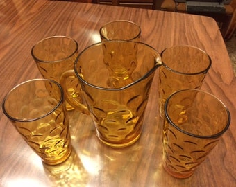 Vintage Glass Pitcher & Glasses