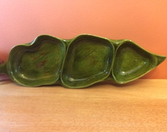 Vintage Green Divided Dish