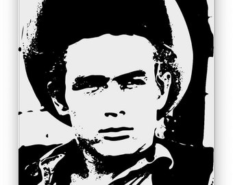 James Dean. Mirror hand engraved, sandblasted and coloured spray.