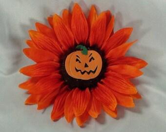 Orange Sunflower HAIR CLIP with Halloween Pumpkin in center