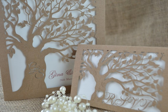Laser Cut Tree Wedding Invitations: Laser Cut Invitation With Laser Cut RSVP Card By